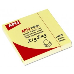 Bloc de notas adhesivas apli zig zag 75x75 mm. color amarilllo.