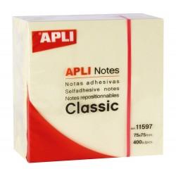 Cubo de 400 notas adhesivas apli classic 75x75 mm. color amarillo.