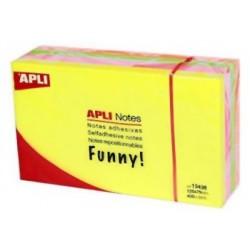 Cubo de 400 notas adhesivas apli gama funny 125x75 mm. colores surtidos brillantes.