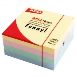Cubo de 400 notas adhesivas apli gama funny 75x75 mm. colores surtidos pastel.