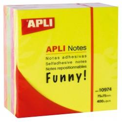 Cubo de 400 notas adhesivas apli gama funny 75x75 mm. colores surtidos brillantes.
