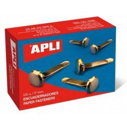 Encuadernador metálico latonado sin arandela apli de 17 mm. caja de 100 uds.