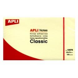 Bloc de notas adhesivas apli classic 125x75 mm. color amarillo.