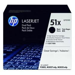 Toner laser hewlett packard laserjet p3005 negro, pack doble.