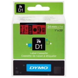 Cinta dymo d1 de 24 mm. x 7 mts. en poliéster rojo con escritura en color negro.