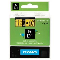 Cinta dymo d1 de 24 mm. x 7 mts. en poliéster amarillo con escritura en color negro.