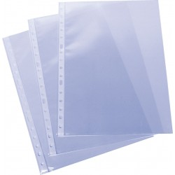 Funda multitaladro en polipropileno liso de galga extra grafoplas en formato folio, color transparente.