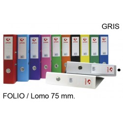 Archivador de palanca definiclas en formato folio, lomo 70 mm. de color gris.