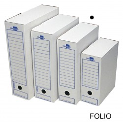 Caja de archivo definitivo liderpapel 104 en formato folio, cartón ondulado blanco.