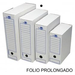 Caja de archivo definitivo liderpapel en formato folio prolongado, cartón ondulado blanco.