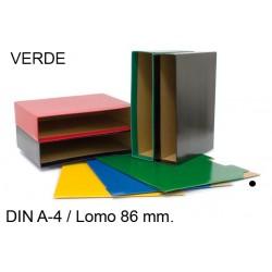 Cajetín archivador de palanca grafoplas grafcolor en formato din a-4, lomo 86 mm. verde.