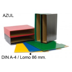 Cajetín archivador de palanca grafoplas grafcolor en formato din a-4, lomo 86 mm. azul.