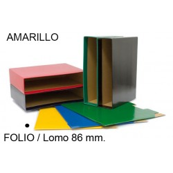 Cajetín archivador de palanca grafoplas grafcolor en formato folio, lomo 86 mm. amarillo.