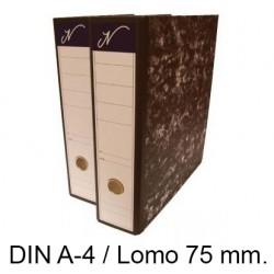 Archivador de palanca jn en formato din a-4, lomo 75 mm. color jaspeado negro.