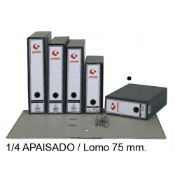 Archivador de palanca grafoplas ecoclassic en formato 1/4 apaisado, lomo 75 mm. color jaspeado negro.