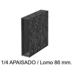 Cajetín archivador de palanca grafoplas ecoclassic en formato 1/4 apaisado, lomo 86 mm. color jaspeado negro.