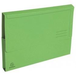 Subcarpeta cartulina con bolsa fuelle y solapa exacompta en formato din a-4, color verde vivo.