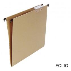 Carpeta colgante grafoplas con visor superior corto en formato folio bicolor.
