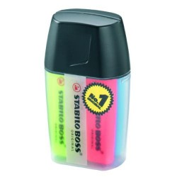 Marcador fluorescente stabilo boss original en colores surtidos, estuche big boss box de 4 uds.