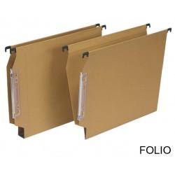 Carpeta colgante grafoplas con visor lateral en formato din a-4, lomo de 30 mm. kraft.