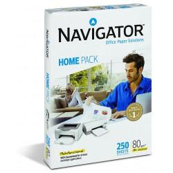 Papel navigator home pack din a-4 de 80 grs. paquete de 250 hojas.