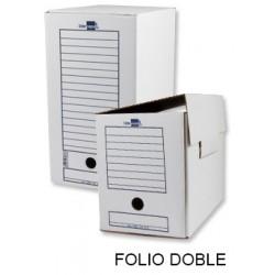 Caja de archivo definitivo liderpapel en formato folio doble ancho, cartón ondulado blanco