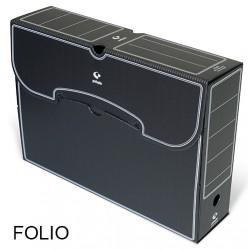 Caja de archivo definitivo grafoplas en formato folio, polipropileno negro.
