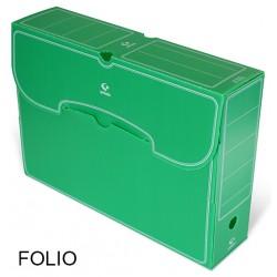 Caja de archivo definitivo grafoplas en formato folio, polipropileno verde.