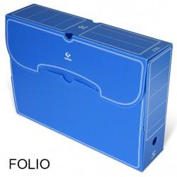 Caja de archivo definitivo grafoplas en formato folio, polipropileno azul.