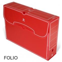 Caja de archivo definitivo grafoplas en formato folio, polipropileno rojo.