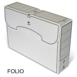 Caja de archivo definitivo grafoplas en formato folio, polipropileno blanco.