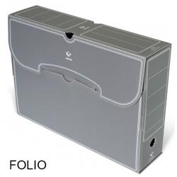 Caja de archivo definitivo grafoplas en formato folio, polipropileno gris.