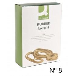 Gomas elásticas q-connect de 80 mm. caja de 1 kg.