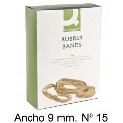 Gomas elásticas q-connect anchas de 150x9 mm. caja de 1 kg.