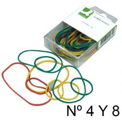 Gomas elásticas q-connect de 40 mm y 80 mm. en colores surtidos, caja de plástico rígido de 15 grs.