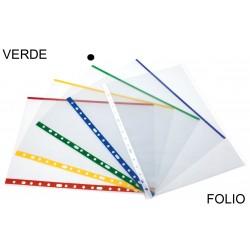 Funda multitaladro en polipropileno de galga extra grafoplas en formato folio transparente con indicador de color verde.
