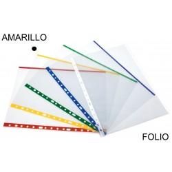 Funda multitaladro en polipropileno de galga extra grafoplas en formato folio transparente con indicador de color amarillo.