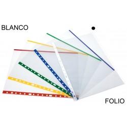 Funda multitaladro en polipropileno de galga extra grafoplas folio, transparente con indicador blanco