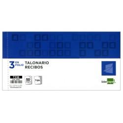 Talonario recibo triplicado liderpapel en formato 3 en folio apaisado de 205x102 mm.