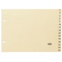 Abecedario 15 posiciones en cartulina con 2 taladros elba en formato 1/4 apaisado, color amarillo.