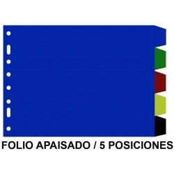 Separador 5 posiciones en pvc con multitaladro grafoplas en formato folio apaisado, colores surtidos opacos.