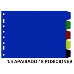 Separador 5 posiciones en pvc con multitaladro grafoplas en formato 1/4 apaisado, colores surtidos opacos.