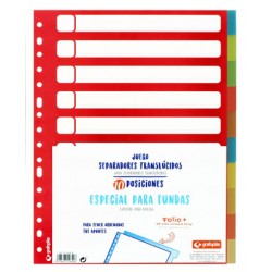Separador 10 posiciones en polipropileno extra con multitaladro, especial fundas grafoplas en formato folio.