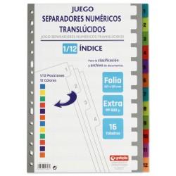 Separador numérico 1-12 en polipropileno extra con multitaladro grafoplas en formato folio, colores surtidos translúcidos.