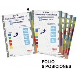 Separador 5 posiciones en polipropileno extra con multitaladro grafoplas en formato folio, colores surtidos translúcidos.