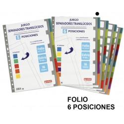 Separador 6 posiciones en polipropileno extra con multitaladro grafoplas en formato folio, colores surtidos translúcidos.