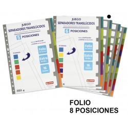 Separador 8 posiciones en polipropileno extra con multitaladro grafoplas en formato folio, colores surtidos translúcidos.