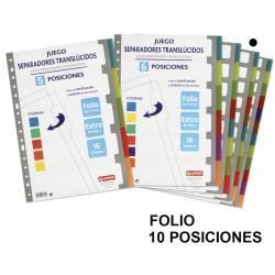 Separador 10 posiciones en polipropileno extra con multitaladro grafoplas en formato folio, colores surtidos translúcidos.