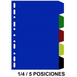 Separador 5 posiciones en pvc con multitaladro grafoplas en formato 1/4, colores surtidos opacos.
