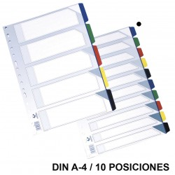 Separador 10 posiciones en pvc con multitaladro grafoplas en formato din a-4, colores surtidos opacos